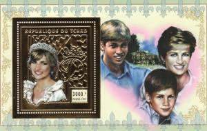 Chad 1997 Mi.#Block 277A  Diana with Harry & William SS Gold Perf.MNH VF