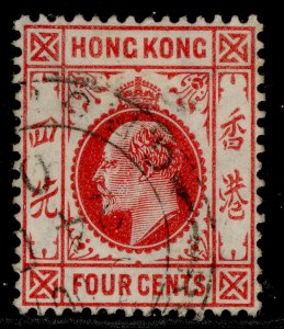 HONG KONG EDVII SG93, 4c carmine-red, FINE USED.