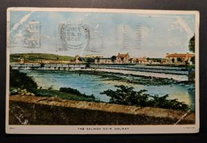 Vintage The Salmon Weir Galway to Co Dublin Ireland Real Picture Postcard Cover