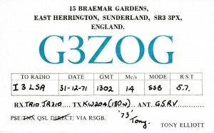7030 Amateur Radio QSL Card  HERRINGTON ENGLAND