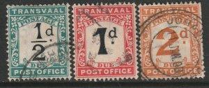 Transvaal Sc J1-J3 postage due used