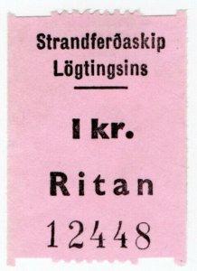 (I.B) Faroe Islands Cinderella : Ferry Parcel Service 1Kr (Ritan)