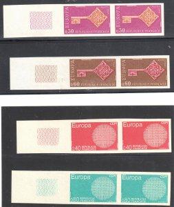 FRANCE YVERT #1556-1557, 1637-1638 EUROPA IMPERF PAIRS , CV 500€   --- XF NH