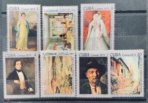 CUBA 1973 SC#1816-22 Paintings in the Natl. Museum Set x 7 MNH