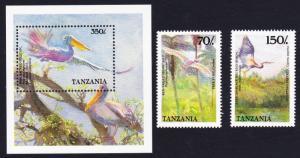 Tanzania Birds 2v+MS WWF-related SG#647=MS650 SC#474=477