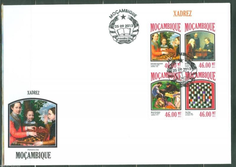 MOZAMBIQUE 2013 CHESS IN PAINTINGS  SHEET  FIRST DAY COVER