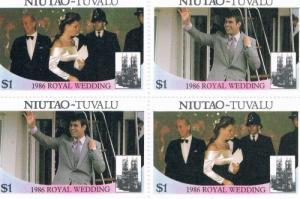 Tuvalu Niutao 52a-b Pair MNH Blk 4 Royal Wedding 1986 (T0018)