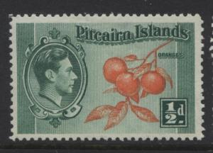Pitcairn Is. - Scott 1 -Definitives - 1940 - MNH - Blue Grn & Org - 1/2d Stamp1