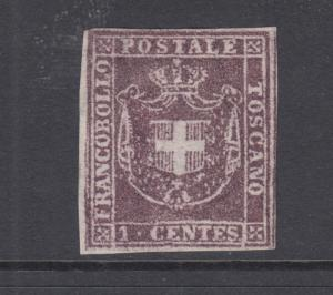 Tuscany Sc 17 MNG. 1860 1c brown lilac imperf isssued by Provisional Government