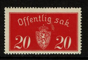 Norway SC# O14, Mint Hinged, Hinge Remnants - S9496