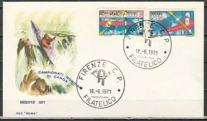 Italy, Scott cat. 1042-1043. Kayak Slalom Championship issue. First day cover. ^