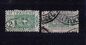 ITALY Scott #Q13 Back of Book used Complete Pair Seperated Center F-VF