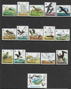 Ascension  196 - 211 (SG 199/214) Birds - MNH - VF - CV$21.80