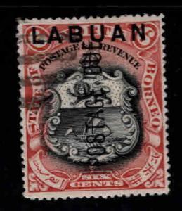 Labuan Scott J5a Used CTO perf 14.5x15 Coat of Arms Postage Due opt  CV $120