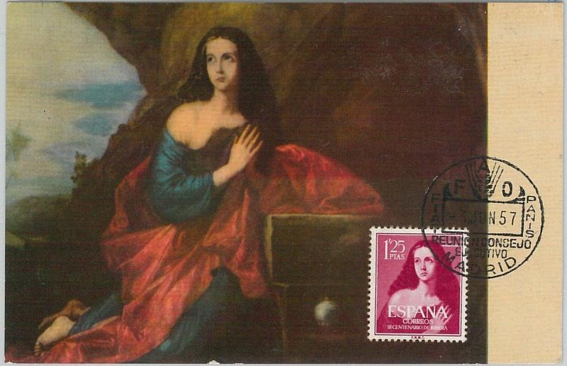 59084  -  SPAIN - POSTAL HISTORY: MAXIMUM CARD 1957  -  ART Religion
