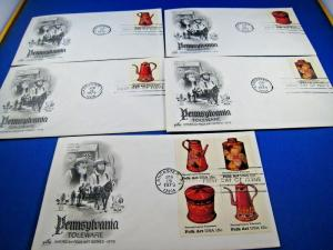 U.S. FIRST DAY COVER SETS - SET of 5 - 1979 - PENNSYLVANIA TOLEWARE    (FDC-12x)