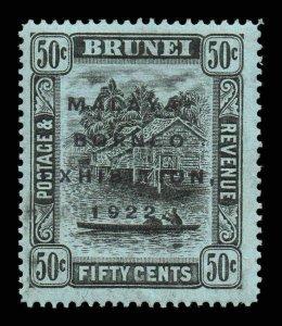 Brunei 1922 MALAYA BORNEO EX. 50c black / blue-green SG 58 mint