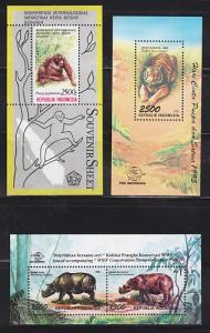 Indonesia Sc 1418A/1674 MNH 1989-96, 3 Wild Animals S/S