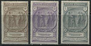 Italy 1923 Semi-Postal Fascisti set of 3 mint o.g. hinged
