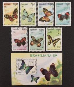 Cambodia 1989 #997-1004, Butterflies, MNH.