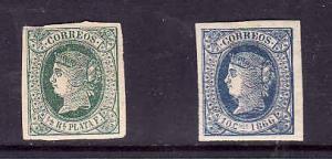 Cuba-Sc#18 & 24-two Unused hinge remnant-Queen Isabella II-1864 & 1866-