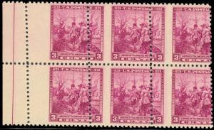 836 Var RARE MISPERFED BLOCK OF SIX ERROR  - MINT NH