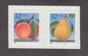 US Sc 2495Ab MNH. 1995 32c Fruit Coil Pair with Plate Number, VF