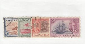 CAYMAN ISLANDS  # 129-132 VF-USED  1950  KGVI SCENIC DESIGNS  CAT VALUE $23