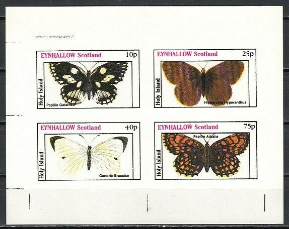 Eynhallow, 1982 Scotland Local issue. Butterfly IMPERF sheet. E7