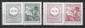 Czechoslovakia B150-51 Masaryk and girl set WITH LABEL Unused LH