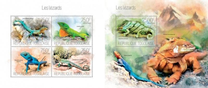 Lizards Eidechsen Reptiles Reptilien Animals Fauna Togo MNH stamp set