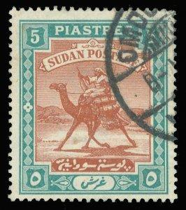 Sudan 1898 QV 5p brown & green very fine used. SG 16. Sc 15.