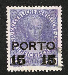 AUSTRIA SCOTT #J48 OVERPRINT 15 HELLER USED 1916