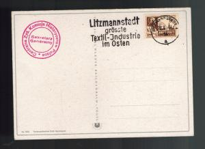 1944 Germany postcard Cover Litzmannstadt Ghetto Post Rumkosky Stamp