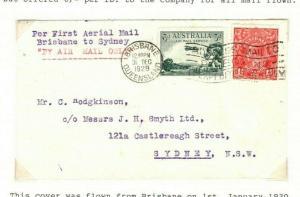 AUSTRALIA Air Mail First Flight Cover Brisbane Sydney 1930{samwells-covers} PA25