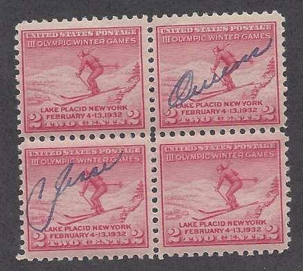 Catalog # 716 Olympic Stamp 1932 Jesse Owens Autograph Excellent Stamp & Signing