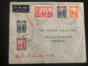 1946 Kuching Sarawak Swiss Consulate Airmail Cover to Nyon Switzerland