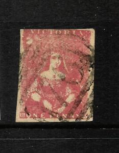 VICTORIA  1850-53  1d  RED BROWN  QV IMPERF  FU  SG 5