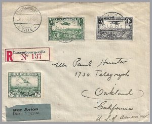 LUXEMBOURG – BELGIUM 1935 Registered Two-Country Mixed Franking – Reg to USA