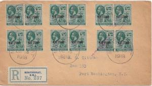 Montserrat 1/2d KGV Symbol of the Colony Overprinted War Stamp in red (8) 191...