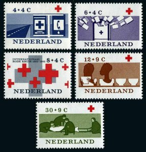 Netherlands B378-B382, MNH. Intl. Red Cross Cent. First Aid Station,Crosses,1963