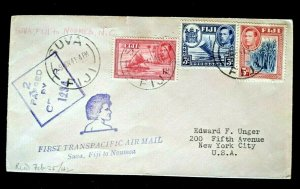 1941 Suva Fiji to Noumea to New York First Transpacific Censored Air Mail Cover