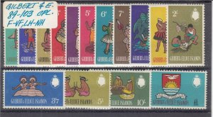 GILBERT & ELLICE ISLANDS (MM128) # 89-103 FVF-MNH/LH  ISLAND DESIGNS CV $17
