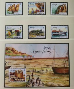 JE50) Jersey 2014 Jersey Oyster Fishing set of 6 & M/S MUH