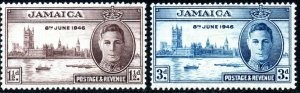 1946 Jamaica Sg 141/142 Victory Issue Mounted Mint
