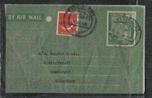 PAKISTAN COVER (PP0906BB)  1961 6A AEROGRAM+13P/ SENT TO SINGAPORE PUNCH HOLE UL