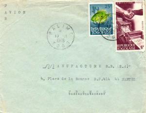 Togo 15F John Dory Fish and 5F Israel-Togo Friendship 1966 Palime, Togo Airma...