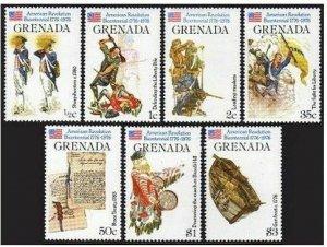 Grenada 716-722.723,MNH.Michel 747-756,Bl.54. USA-200,1976.Scenes,Flags,Gunboat.