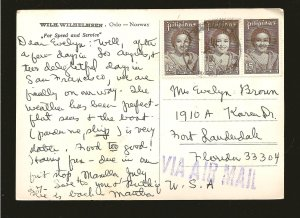 Philippines 1196 x 3 & 1220 on MS TARANTELA Ship Photo Postcard Used