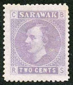 Sarawak SG3 2c Mauve on Lilac (no gum as normal)